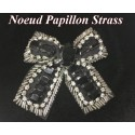 Noeud Papillons En Perles Noir Orné De Strass Pour Robes de soirées Et Customisations
