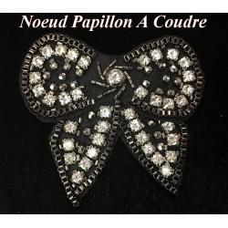 Noeud Papillons En Perles Noir Orné De Strass A Coudre Pour Robes de soirées Et Customisations