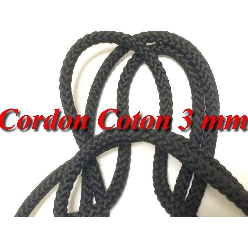 Cordon Fil Lacet Noir Au Mètre Coton En 3 mm Pour Loisirs Créatifs.