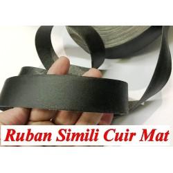Ruban Simili Cuir Mat En 3 Cm Noir Au Mètre