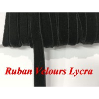 Ruban Velours Lycra en 10 mm Noir Pour Lingerie Customisations.