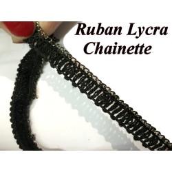 CHAINETTE Lycra sur un Support En Ruban Elastique Noir pour Lingerie et Customisations.