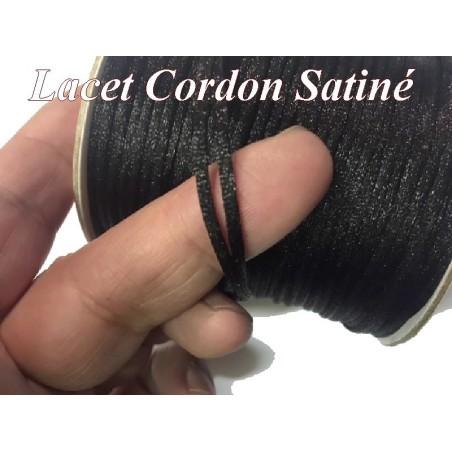 Cordon Lacet Satiné En 3 mm Noir Pour Loisirs Créatifs Et Laçage.
