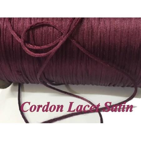 Cordon Lacet Satiné couleur Lie De Vin En 3 mm  Pour Loisirs Créatifs Et Laçage.