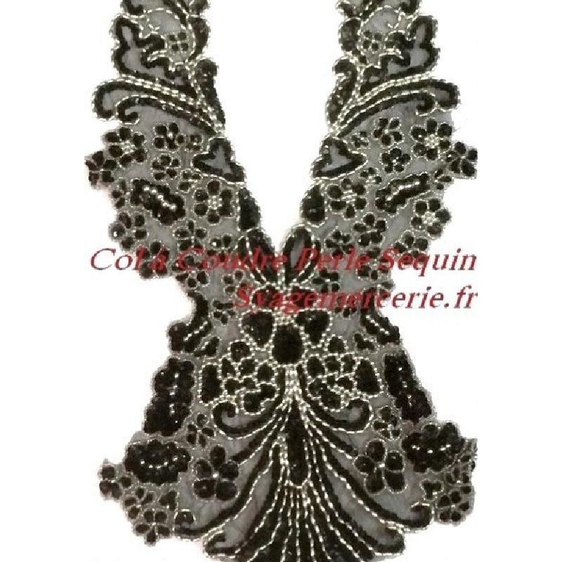 Col Plastron A Coudre En Sequin Argent Et Perles