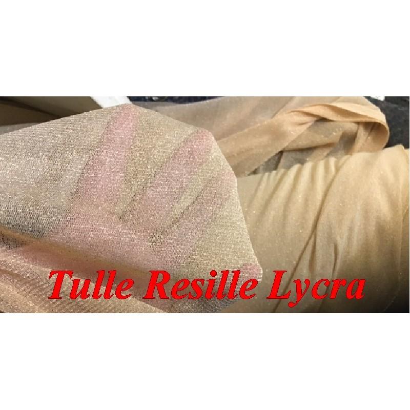 Tulle Résille Lycra En Lurex Or EN 1 Mètre 80 De Largeur pour justaucorps, Danse, Lingerie.