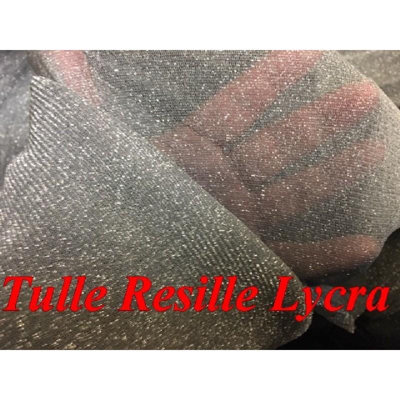 Tulle Résille lycra Gris Avec Paillete Argenté En 1 mètre 80 De Largeur Pour Justaucorps Et Lingerie.