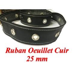 Ruban Oeuillet Cuir Noir En 25 mm A Coudre Pour Agrafage et Serrage