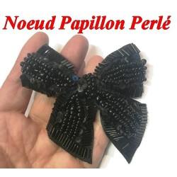 Noeud Papillons En Perles Noir A Coudre Pour Décorations Et Customisations