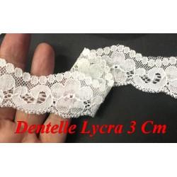 Dentelle Lycra En 3 Cm Blanche Pour Lingerie Et Customisations.