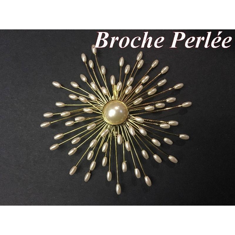 Broche pour femmes En perles Ecru Sur Support Doré Pour Décorations Et Customisations.