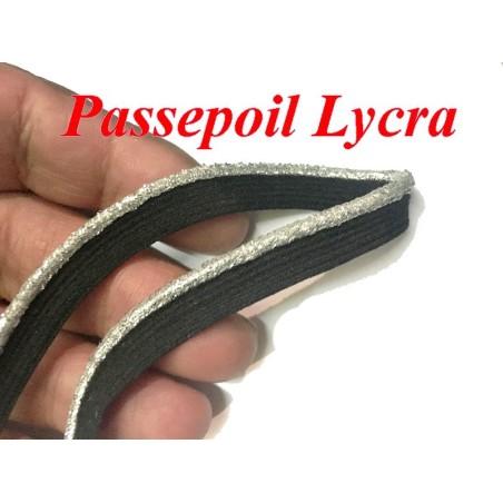 Ruban En forme De Passepoil Lycra Elastique En 1 Cm, Noir et Argent Pour Lingerie, et Customisations.