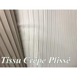 Tissu Crêpe Plissé Polyester Blanc A Coudre, Décoration et Customisation.