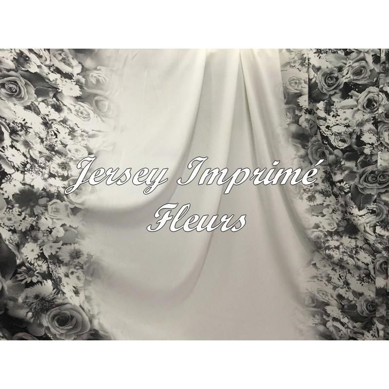 Tissu Jersey Lycra Blanc Imprimé Motifs Fleurs Noir au Mètre.