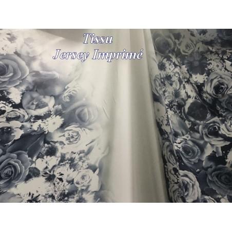 Tissu Jersey Lycra Blanc Imprimé Motifs Fleurs Bleu Indigo Au Mètre.