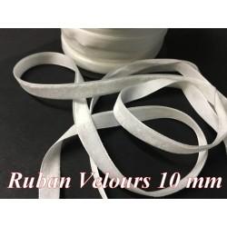 Ruban Velours en 10 mm Couleur Blanc Pour vetements et Loisirs Créatifs