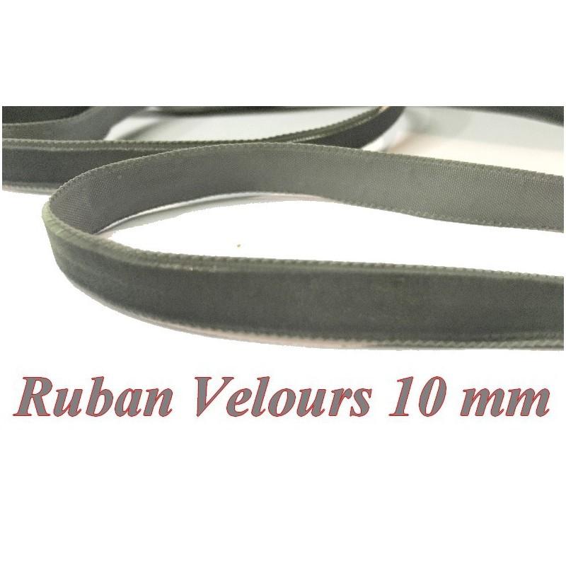 Ruban Velours en 10 mm Couleur Gris Pour vetements et Loisirs Créatifs