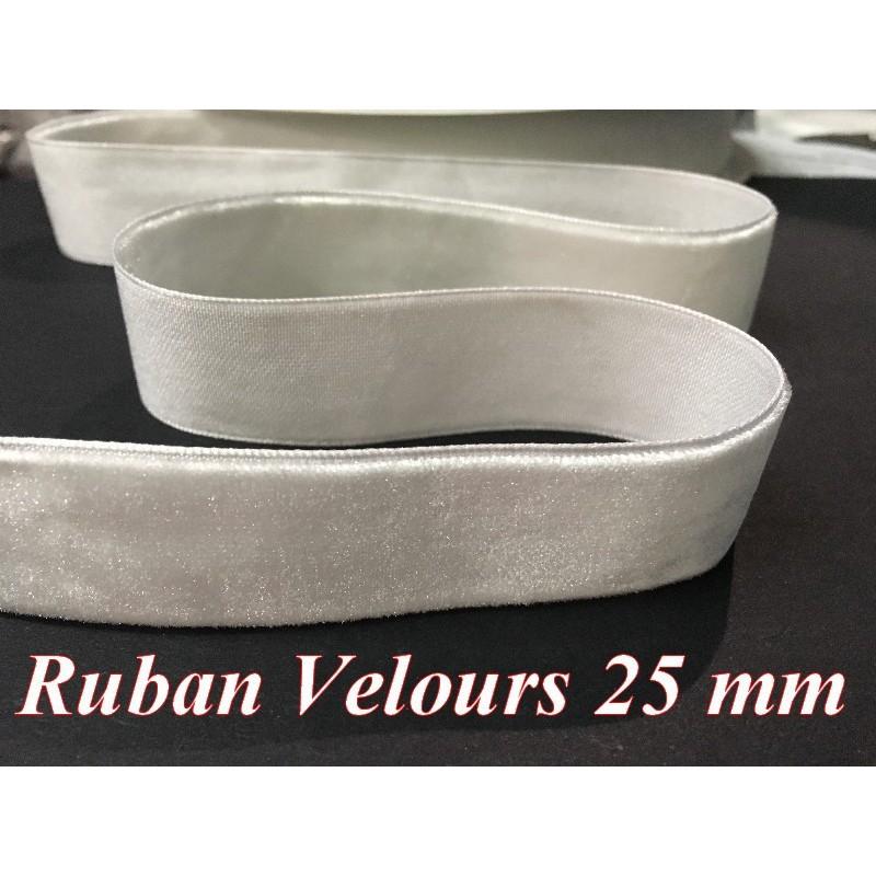 Ruban Velours en 25 mm Couleur Blanc Pour vetements et Loisirs Créatifs