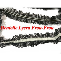 Dentelle Lycra En Froufrou Noir En 4 Cm A Coudre Pour Lingerie Et Customisations.