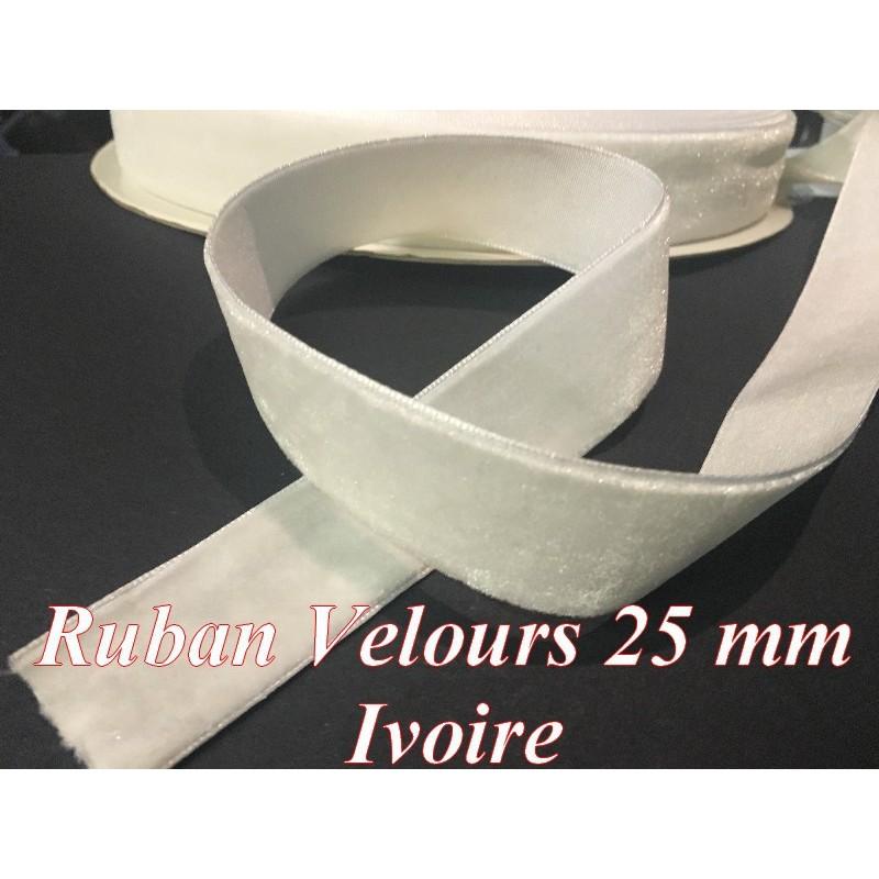 Ruban Velours en 25 mm Couleur ivoire Pour vetements et Loisirs Créatifs