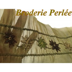 Galon Ruban En Broderie Perles Sur Organza En 10 Cm Vert Tilleul Pour Décorations Et Customisations.