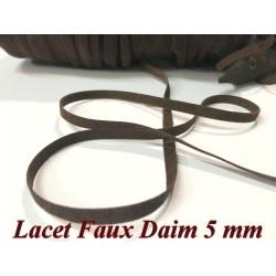 Lacet Lien En Daim En 5 MM Marron- choco - A Coudre Pour Loisirs Créatifs Et Décorations.