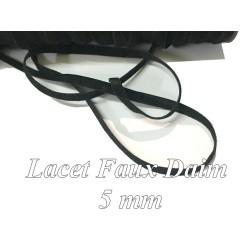 Ruban Lacet Faux daim En 5 mm Couleur Noir - A Coudre Pour Loisirs Créatifs Et Décorations.