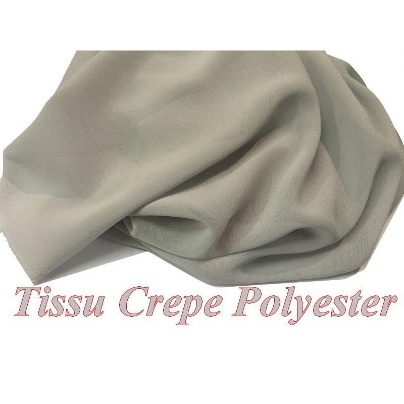 Tissu Crêpe Georgette Polyester Gris A Coudre, Décoration et Customisation.