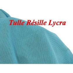 Tissu Résille Lycra au Mètre En Couleur Turquoise Pour Justaucorps.