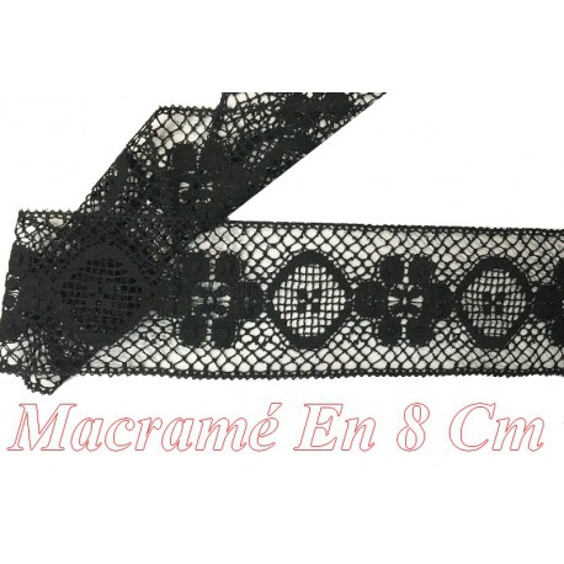 Galon Macramé En 8 Cm Noir Motif Fleur.