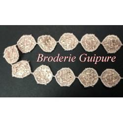Galon Dentelle Guipure au Mètre En Forme De Rondelle Vieux Rose Pour Customisations Vetements Et Lingerie.