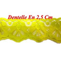 Dentelle Fixe Jaune En 2.5 cm a Coudre Pour Loisirs Créatifs.