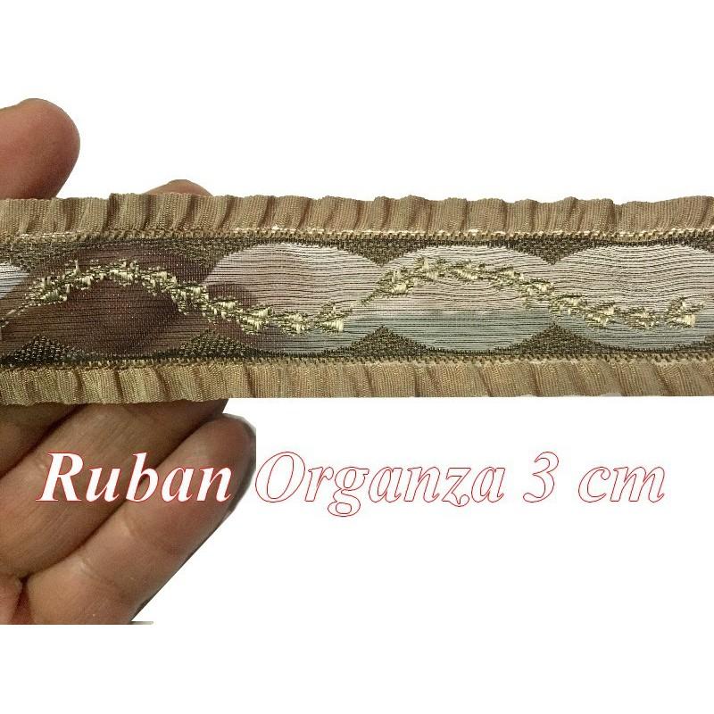 Galon Ruban Organza Au Mètre En 3 Cm choco A Coudre Pour Loisirs Créatifs Et Lingerie.