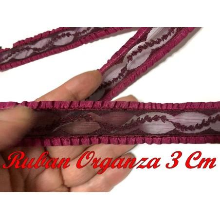 Galon Ruban Organza Au Mètre  En 3 Cm Couleur Bordeaux  A Coudre Pour Loisirs Créatifs Et Lingerie.