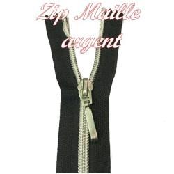 Fermeture Noir,Maille 5 Argent Taille 25 Cm A Coudre.