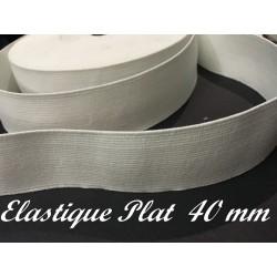 Elastique Plat Au Mètre en 40 mm Blanc Pour La Couture.