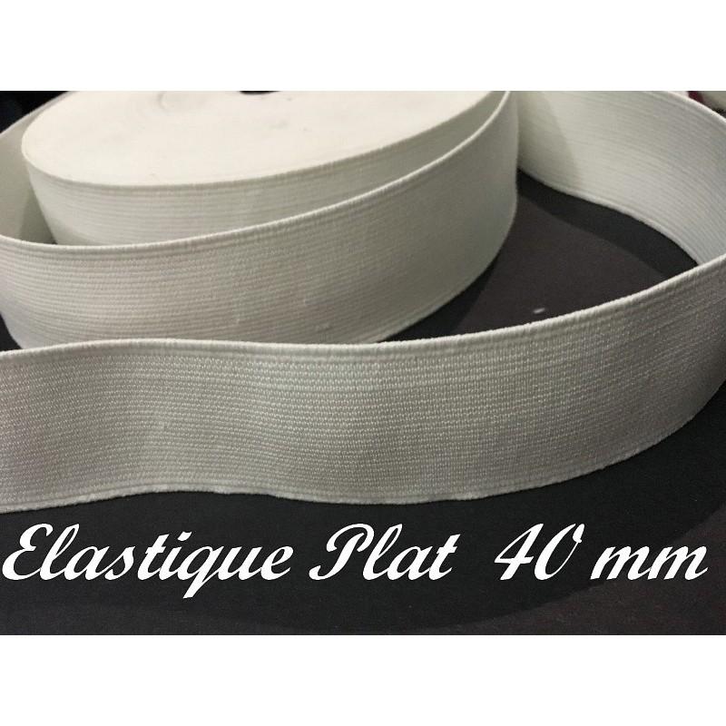 Elastique Plat Au Mètre en 40 mm blanc Pour La Couture