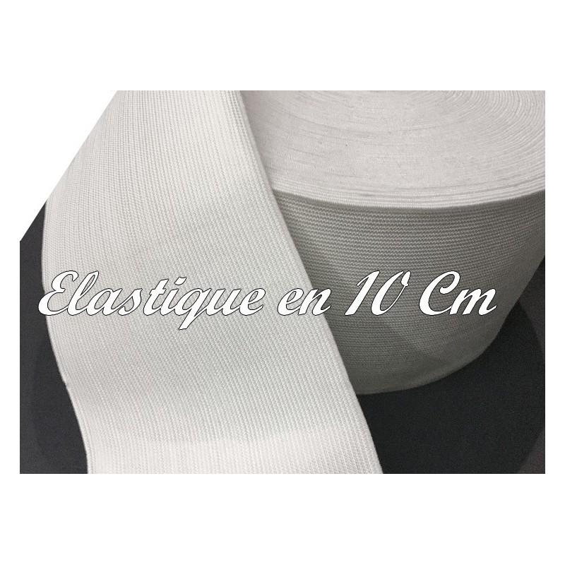 Elastique Plat Au Mètre en 10 Cm De Largeur Couleur Blanc Pour La Couture.