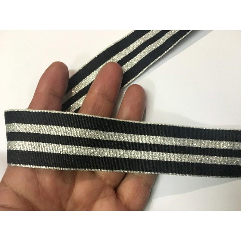 """Ruban au mètre style """"marin"""" en 3.2 cm argent et noir."""