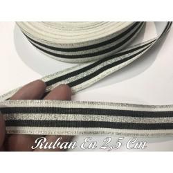 """Ruban au mètre style """"marin"""" en 2.5 cm argent et noir."""
