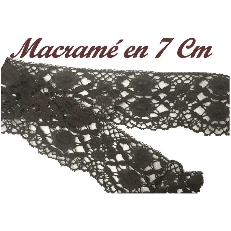 Galon macramé Au Mètre En 7 cm A Coudre Marron Pour décoartions et Customisations.