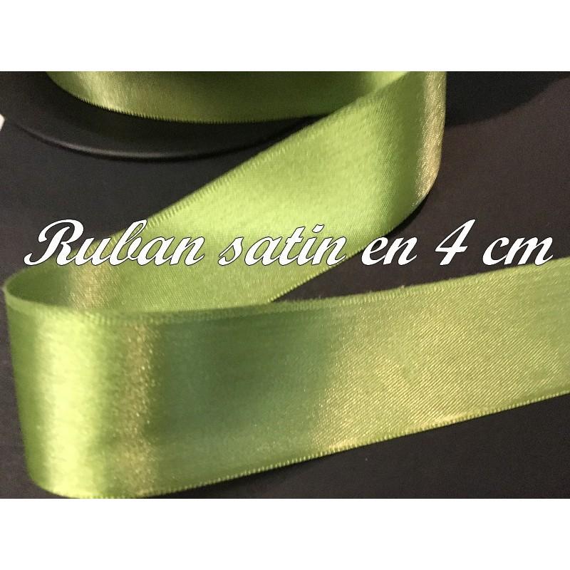 Ruban Satin Au Mètre En 40 mm Couleur Vert Tilleul A Coudre Pour La Décoration Et Loisirs Créatifs