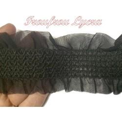 Ruban élastique frou-frou au mètre en 6 cm noir pour lingerie et customisation.