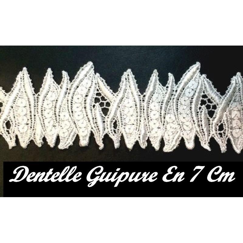 Dentelle Guipure Au Mètre En Broderie En 7 cm Orné De Sequins Blanc Pour Customisations Et Mariage.
