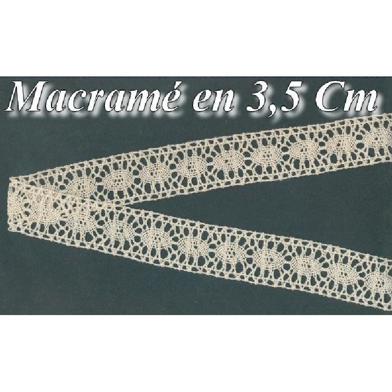 Galon Dentelle Macramé Au Mètre En 3,5 Cm Ecru, A Coudre.