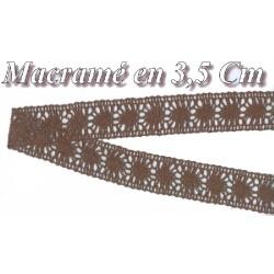 Galon Dentelle Macramé Au Mètre En 3,5 Cm Marron Choco A Coudre.