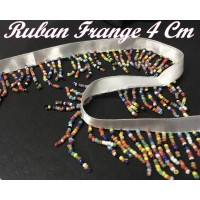 Frange Au Mètre , Ruban  charleston En 4 cm en Perles Multicolor Pour customisations Et Décorations De vetements
