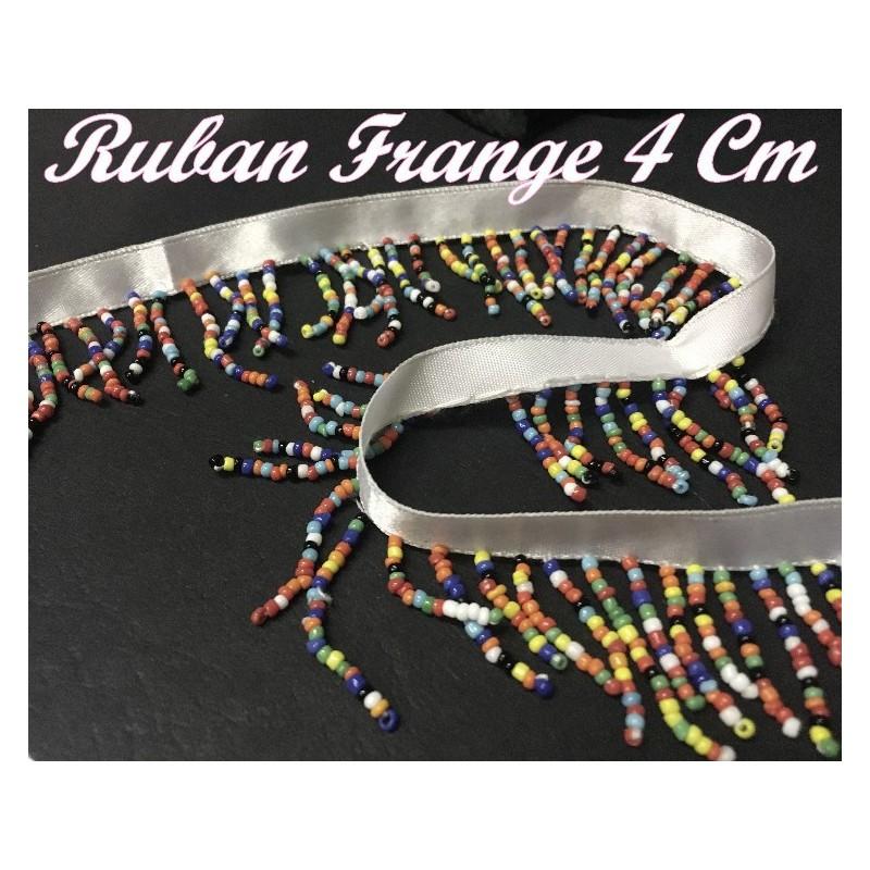Frange Au Mètre , Ruban charleston En 4 cm en Perles Multicolor Pour customisations Et Décorations De vetements