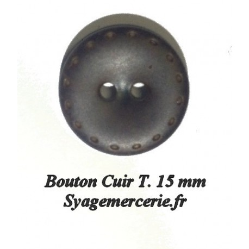 Bouton Cuir en Simili Taille 15 mm en Maron Choco A Coudre.