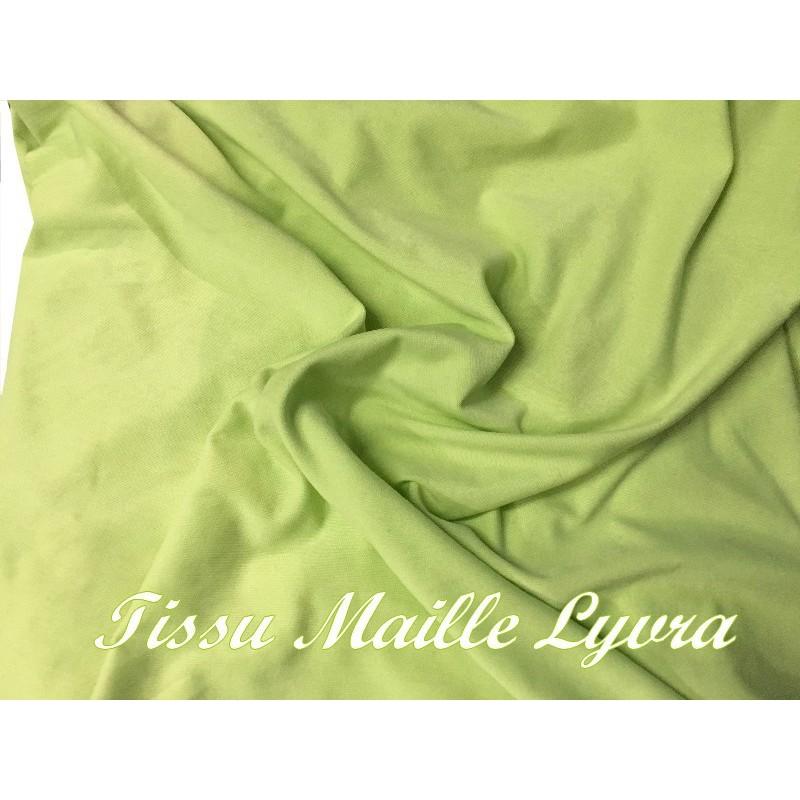 Tissu Lycra Maille Pitch Au Mètre vert Anis A Coudre Pour Lingerie Et Confections.